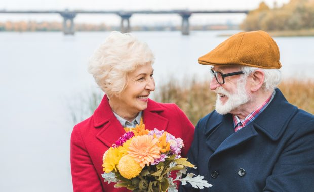 Old couple with flower